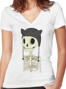 Skeleton Kitty Women's Fitted V-Neck T-Shirt