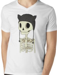 Skeleton Kitty Mens V-Neck T-Shirt
