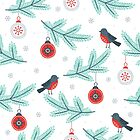 Cute Christmas Birds & Green Branches Pattern by artonwear