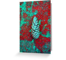 Solo Pine Cone In Red And Green Greeting Card