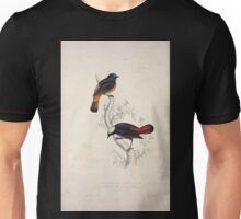 John Gould A Century of Birds from the Himalaya Mountains 1831 026 Phoenicura Frontalis and Leucocephala Unisex T-Shirt