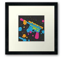 Han Solo Blaster Paint Splatter (Full Color) Framed Print