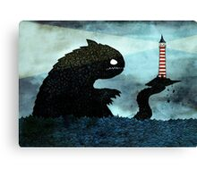 Sea monster & Lighthouse Canvas Print