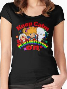 Keep Calm and Rainbow On (Dark) Women's Fitted Scoop T-Shirt