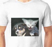portrait of puppy and kitten Unisex T-Shirt