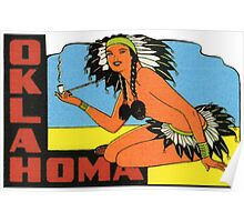 Oklahoma OK State Vintage Pin Up Girl Travel Decal Poster