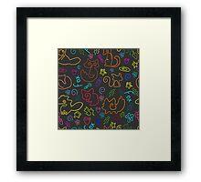 Doodle seamless pattern Back to school Framed Print