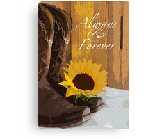 Country Sunflower Western Wedding Keepsake Canvas Print
