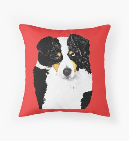 Black Tri Australian Shepherd Portrait Throw Pillow