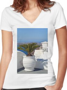 White amphora with plant in Santorini, Greece Women's Fitted V-Neck T-Shirt