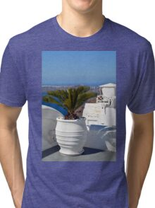 White amphora with plant in Santorini, Greece Tri-blend T-Shirt