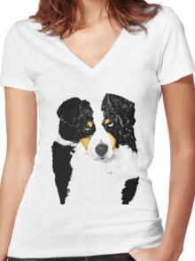 Black Tri Australian Shepherd Portrait Women's Fitted V-Neck T-Shirt