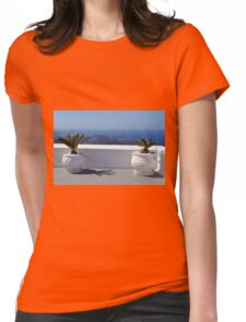 White amphoras with plants in Santorini, Greece Womens Fitted T-Shirt