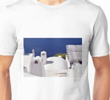 White buildings near the sea in Santorini, Greece Unisex T-Shirt