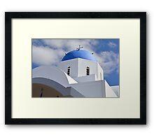 White church with blue cupola in Santorini, Greece Framed Print