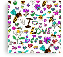 Seamless pattern with bees in various poses, with the text I love bees with different flowers Canvas Print