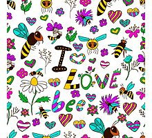 Seamless pattern with bees in various poses, with the text I love bees with different flowers Photographic Print