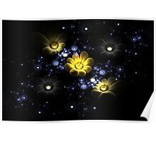 Abstract 3d flowers among the stars in space Poster