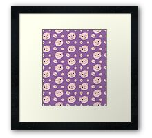 Cute Piggy heads with purple background Framed Print