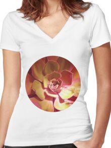 SUN SUCCULENT ( GOLDEN ) Women's Fitted V-Neck T-Shirt