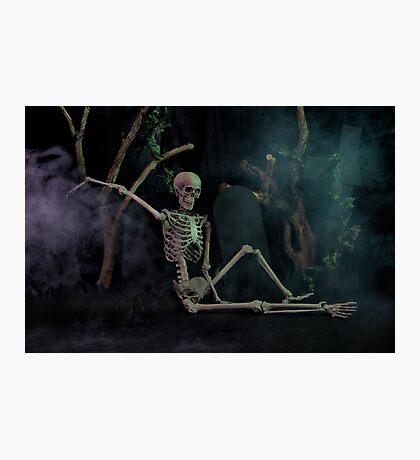 Halloween skeleton resting in graveyard cemetery Photographic Print