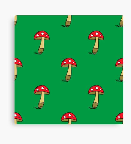 seamless pattern with doodle amanita colorful Canvas Print