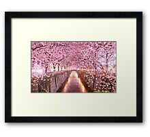Cherry blossom Impressionist summer landscape Framed Print
