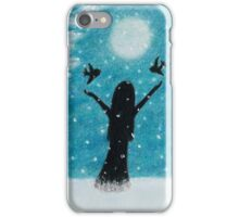 Snow Scene: Girl in Snow with Birds Reindeer and Moon iPhone Case/Skin