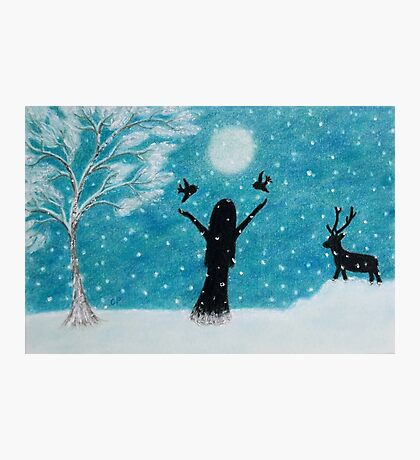 Snow Scene: Girl in Snow with Birds Reindeer and Moon Photographic Print