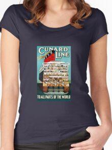 Vintage Cunard Line Ocean Liner Travel Women's Fitted Scoop T-Shirt
