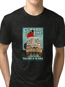 Vintage Cunard Line Ocean Liner Travel Tri-blend T-Shirt