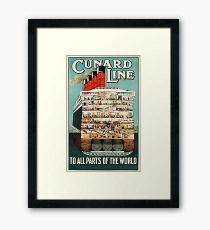 Vintage Cunard Line Ocean Liner Travel Framed Print
