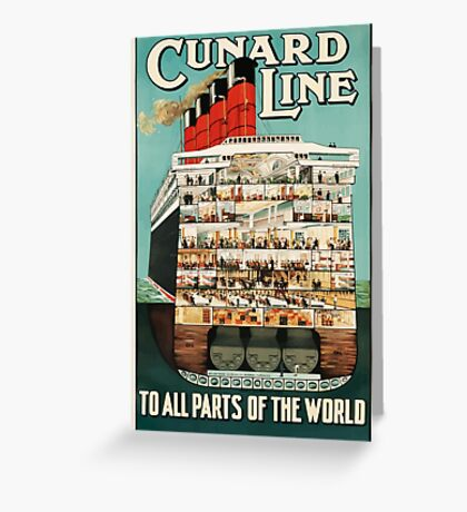 Vintage Cunard Line Ocean Liner Travel Greeting Card