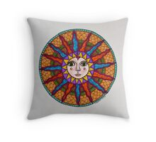Sun Face Mandala2 Throw Pillow