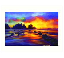 sunset beach Landscape Ocean Tropical Art Print