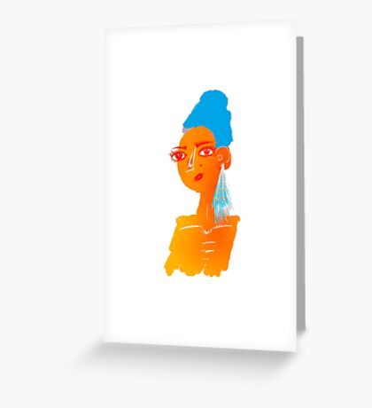 Illustration of beautiful hand drawn woman with blue hair Greeting Card