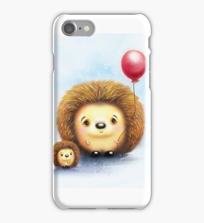 Cute Little Hedgehogs & a Balloon iPhone Case/Skin