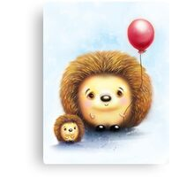 Cute Little Hedgehogs & a Balloon Canvas Print