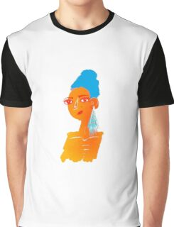 Illustration of beautiful hand drawn woman with blue hair Graphic T-Shirt
