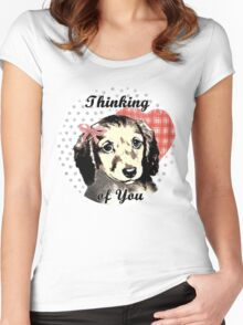 Cute Puppy waiting for owner to return Women's Fitted Scoop T-Shirt