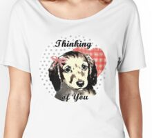 Cute Puppy waiting for owner to return Women's Relaxed Fit T-Shirt