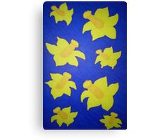 Pop Art Daffodils in Blue Canvas Print