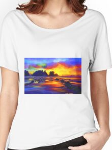 sunset beach Landscape Ocean Tropical Women's Relaxed Fit T-Shirt