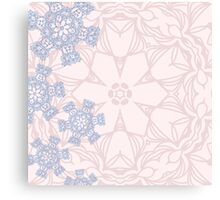 Rose Quartz and Serenity Blue design with abstract snowflakes Canvas Print