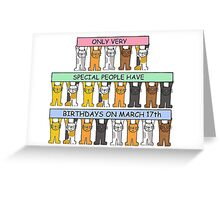 Cats celebrating birthdays on March 17th. Greeting Card
