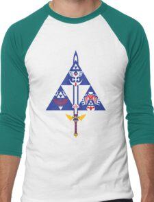Sword and Shield (Blue) Men's Baseball ¾ T-Shirt