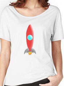 Rocket Ship Cartoon Women's Relaxed Fit T-Shirt