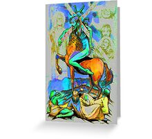 Psychodelic art, fluoroscent, vibrant bright colors digital art Greeting Card