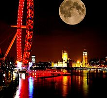 London Eye in red & Parliament by night by Justharry