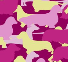 Camo Dachshund Silhouettes - Smooth, Wire, Long, Hair, Coat, Longhair, Wirehair Sticker